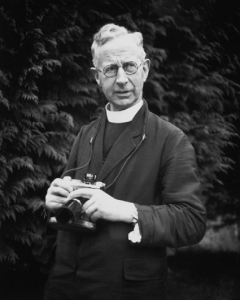 Father Browne with one of his beloved cameras